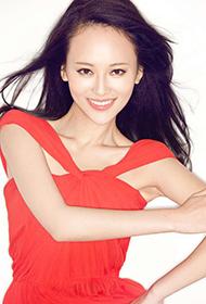 内地气质女演员刘娜萍红裙甜美写真