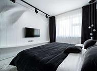 黑白创意波浪个性卧室精美效果图
