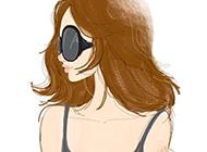 手绘素描卡通女生头像图