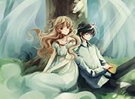 大树下的唯美动漫情侣图片