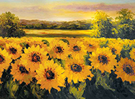 一大片美丽向日葵水彩画图片