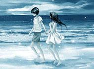 唯美情侣沙滩牵手唯美漫画图片