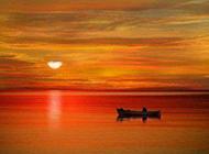 唯美日出海上浪漫风景图