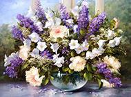 惹人喜爱的花卉盆景油画图片