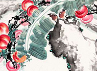 挂在枝头的桃子水墨国画图片
