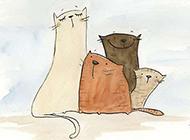 卡通彩色素描猫咪萌图