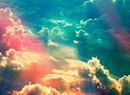 梦幻七彩云朵浪漫唯美天空风景