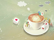 醇香浓郁的咖啡ppt背景图片