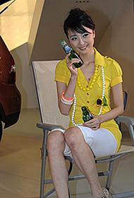 嫩模李琳迷人笑容车展秀美图