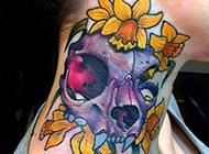 另类颈部彩绘纹身素材诡异个性