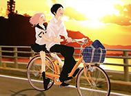 夕阳下唯美的单车情侣动漫图片