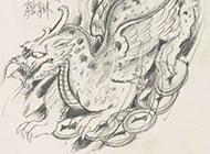 一款超经典的貔貅纹身手稿图