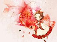 唯美水彩画可爱小女孩图片