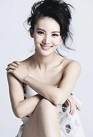 中国美女明星金晨白色长裙清纯写真