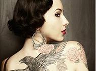 美女身上的霸气老鹰纹身图案