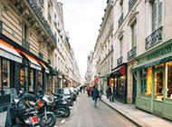 清晨法国街头唯美街景图片