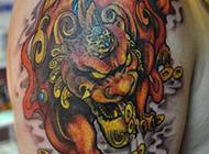 吉祥展翅貔貅纹身图片