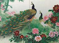 国画美丽的孔雀与牡丹花图片
