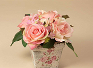 浪漫粉色玫瑰插花图片