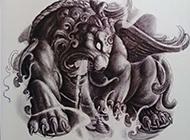 线条苍劲有力的貔貅纹身手稿素材