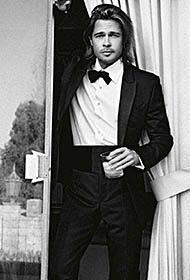 美国电影演员布拉德·皮特风流倜傥帅气逼人