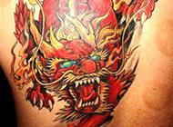 火麒麟后背纹身图片经典霸气