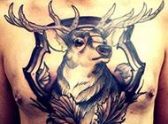 欧美霸气时尚男生胸部纹身图案
