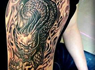 火麒麟手臂纹身图案个性大气