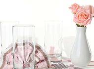 瓶子里的粉红玫瑰花大图