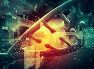 简单的断开的DNA医疗科技ppt背景图
