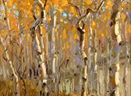 秋日枫树林与落叶油画图片