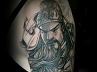 霸气彩色的关公头像纹身图案大全
