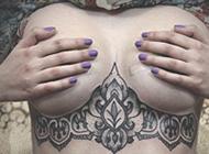 欧美超拽女生个性胸部纹身头像图片