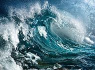 波澜壮阔的蓝色海浪高清图片