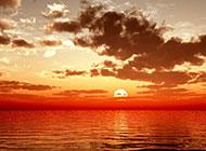 美丽的大海落日风景图片