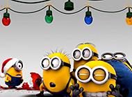 过圣诞的可爱小黄人高清壁纸