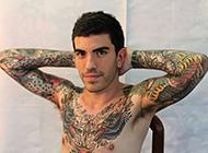 巴塞罗那帅哥花臂纹身图案