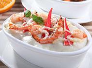 奶油海鲜焗饭的摄影图片