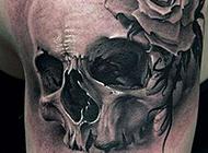 酷黑骷髅艺术手臂纹身图案