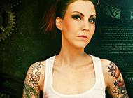 欧美性感美女花臂纹身图片