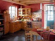 法式田园开放式厨房装修效果图