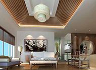 复式套房客厅古典中式装修效果图