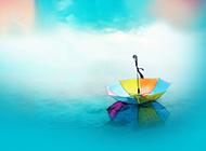 跌落的雨伞简约清新背景图