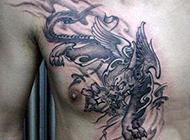 男生胸部经典貔貅纹身图案欣赏