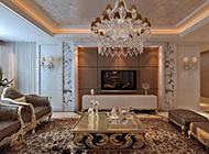 别墅客厅欧式背景墙装修效果图