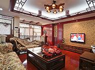 现代中式客厅电视墙效果图