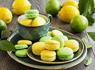 西式甜点柠檬马卡龙图片