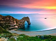 唯美梦幻的海边晚霞风景图片