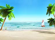 美丽的海边沙滩自然风景图片