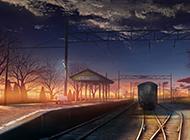 高清火车站台动漫风景壁纸